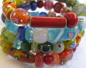 Colourful Memory Wire Bangle with Moretti Glass, Kazuri Beads and Porcelain Beads