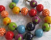 Rainbow Spots Kazuri Bead Necklace