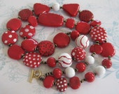 Red and White Spotted Kazuri Bead Necklace with a Dash of Quirk