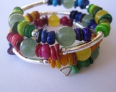 Memory Wire Jewelry, Multi Colored Bangle, Mother of Pearl Bangle