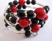 Memory Wire Jewelry, Black and Red Colored Bangle, Kazuri Beads