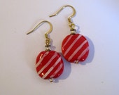 Kazuri Bead Earrings in Red and White Pattern