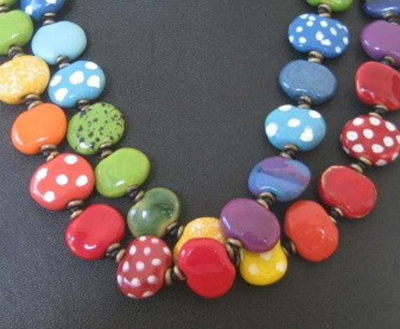 Rainbow Coloured Kazuri Bead Necklace   Long