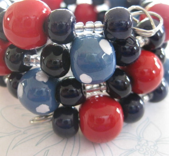 Red and Navy Blue Kazuri Bead Memory Wire Bangle with Sky Blue and White Spotted Kazuri Beads