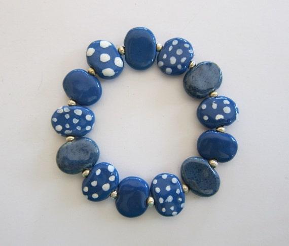 Blue and White Spotted Kazuri Bead Bangle
