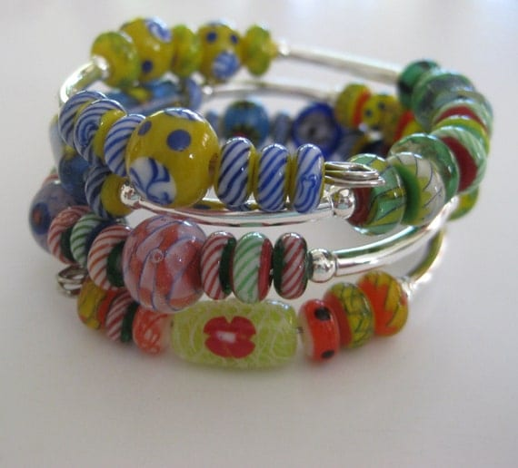 Memory Wire Bracelet with Moretti Glass Beads and Silver Plated Beads in Rainbow Colors