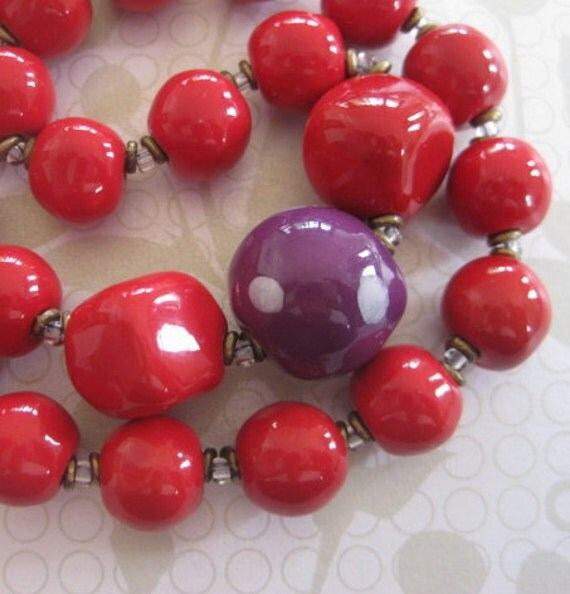 Purple and Red Kazuri Bead Necklace
