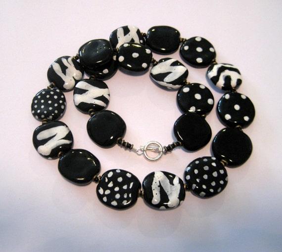 Black and White Kazuri Bead Necklace
