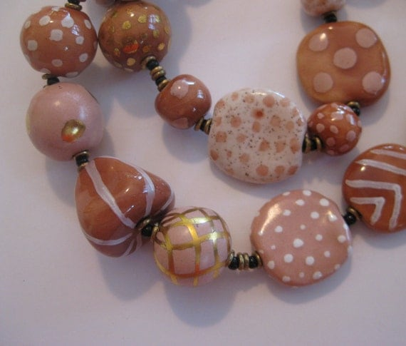 Kazuri Bead Necklace in Natural Skin Tone Colors
