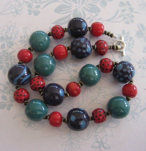 Kazuri Bead Necklace in Red, Turquoise, Peacock Green and Purple