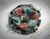 Winters Song... Blossoming Fabric Flower  Hair Clip