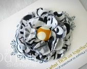 Damask and Wallflower... Blossoming Fabric Flower  Hair Clip