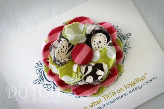 Cutie Patootie... Blossoming Fabric Flower Hairclip