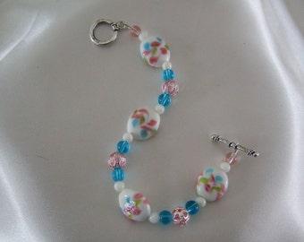 Pink and Blue Floral Bracelet