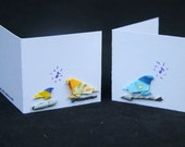 Origami Gift Cards Set of 3 - Song Birds - Blank