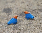 Free Shipping - Waterproof - Origami Bird Earrings - Blue and Orange