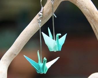 Origami Earrings - Aqua Blue, White and Green Cranes