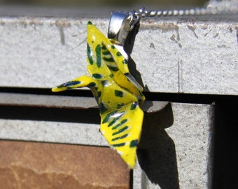 Origami Crane Pendant - Yellow and Blue