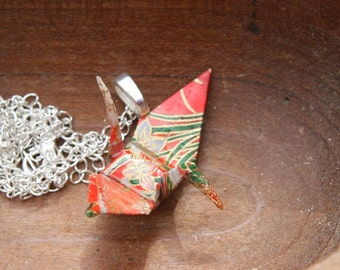 Origami Crane Pendant Large - Red with Green and White Flower details - Waterproof