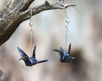 Origami Crane Earrings - Midnight Blue with gold details