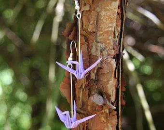 Origami Crane Earrings - Bright Purple