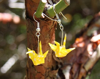 Origami Crane Earrings - Yellow with White Polka Dot