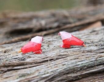 Origami Bird Stud Earrings - Red and White - Waterproof