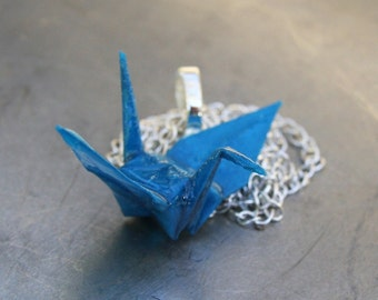 Origami Pendant Large - Bright Blue Crane - Waterproof