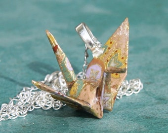 Origami Crane Pendant Large - Light Brown with Paisley details - Waterproof