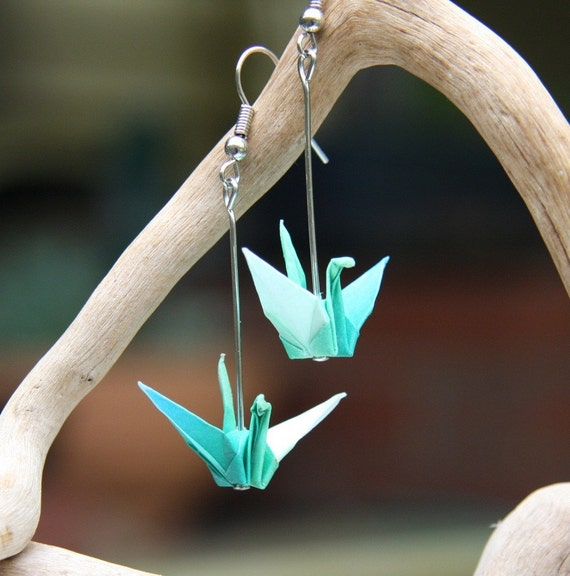 Origami Earrings - Aqua Blue, White and Green Cranes