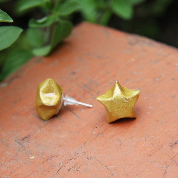 Waterproof Origami Star Stud Earrings - Metallic Gold