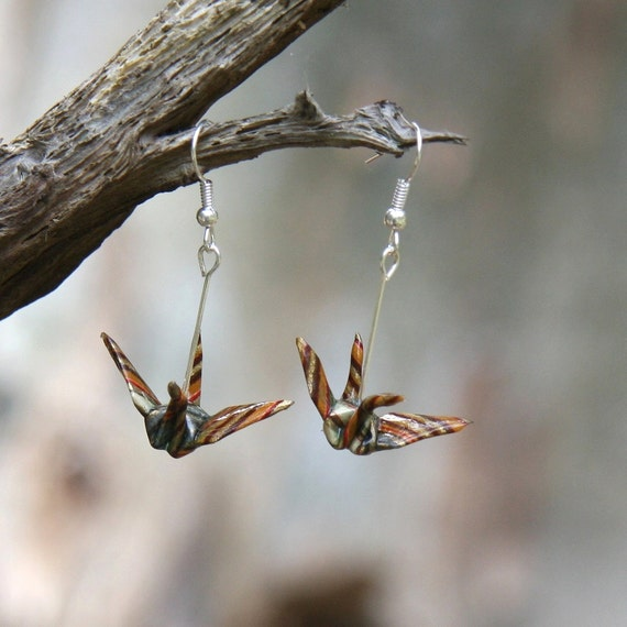 Origami Earrings - Traditional Crane - Brown, and Gold Stripes