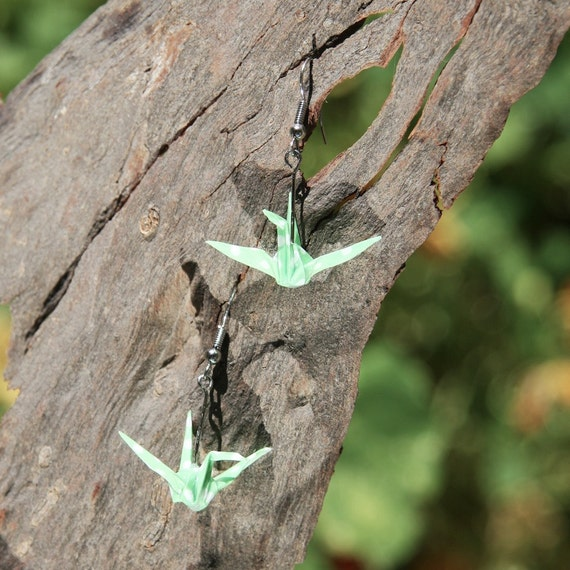 Origami Crane Earrings - Green with White Polka Dot