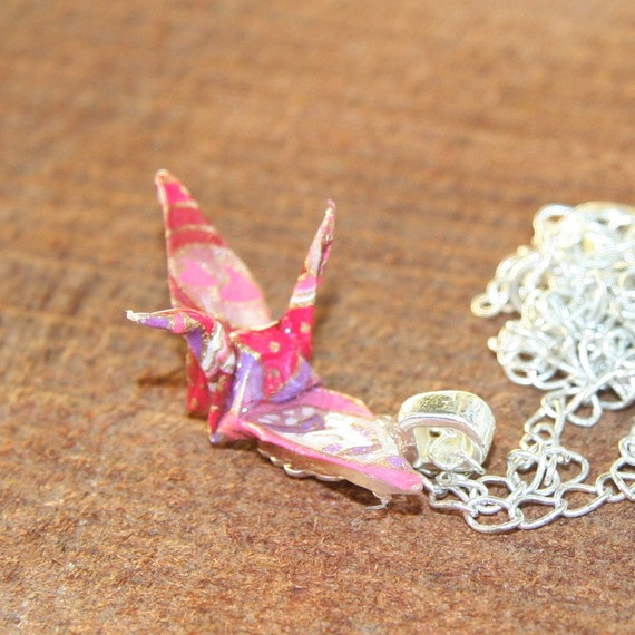 Origami Necklace - Pink and Purple Paisley Crane