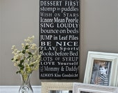 Family Rules Wooden Sign by the Kids Typography Word Art