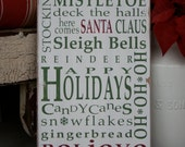 Christmas Signs, 'Tis the Season Typography Wall Art Sign Painted by Barn Owl Primitives