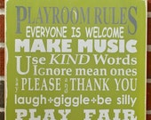 Whimsical Playroom Rules Distressed Sign - Typography Word Art