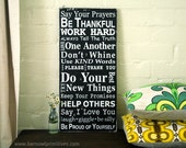 Family Rules Wooden Sign Say Your Prayers - Typography Word Art Painted Signage