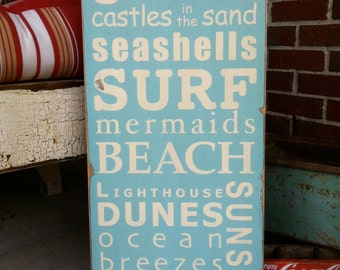 A Day at the Shore Beach Typography Word Art Sign - Lake, Ocean, Vacation