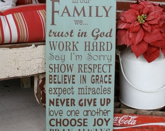 In Our Family we... Family Rules Wooden Sign - Live Simply Typography Word Art  Sign