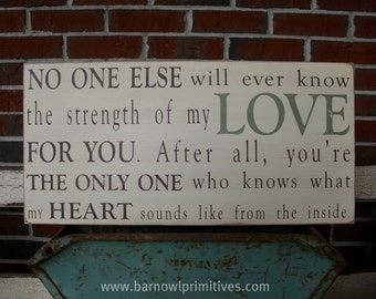 Strength of My Love Typography Word Art Sign - The Perfect Sign for a Baby's Nursery Wood Sign