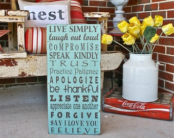 Family Rules Wooden Sign - Live Simply Typography Word Art  Painted Wood Sign