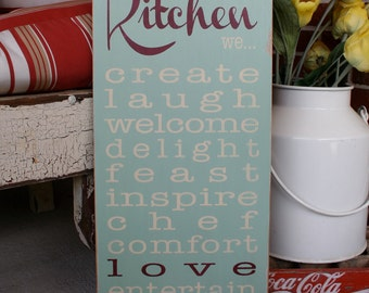 In Our Kitchen We - Rules Wooden Sign - Typography Word Art