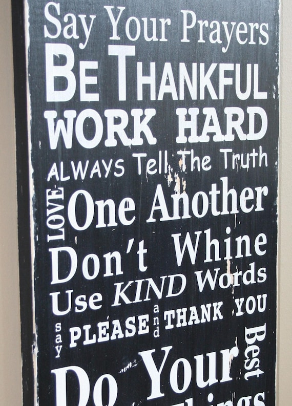 Family Rules Sign Version III - Typography Word Art