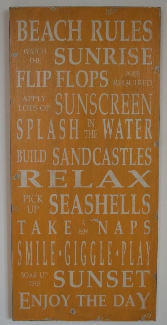 Beach Rules Vintage Style Typography Word Art Sign in Golden Yellow