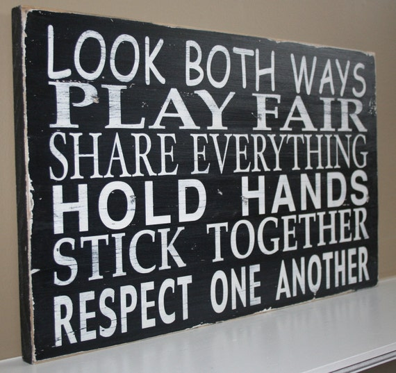 Classroom Rules Sign in Black with White Letters - Makes a wonderful Teacher's Gift Back to School