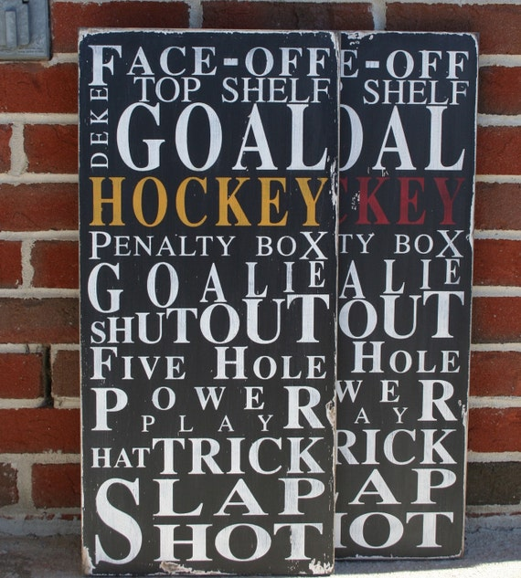 Ice Hockey - Typography Word Art Sport Sign in Black