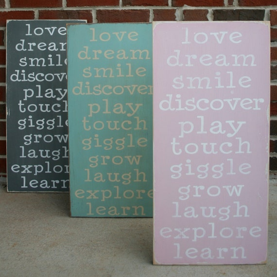 The First Family Rules Wooden Sign - Distressed Typography Word Art Sign - Perfect for a Nursery - You Pick the Color