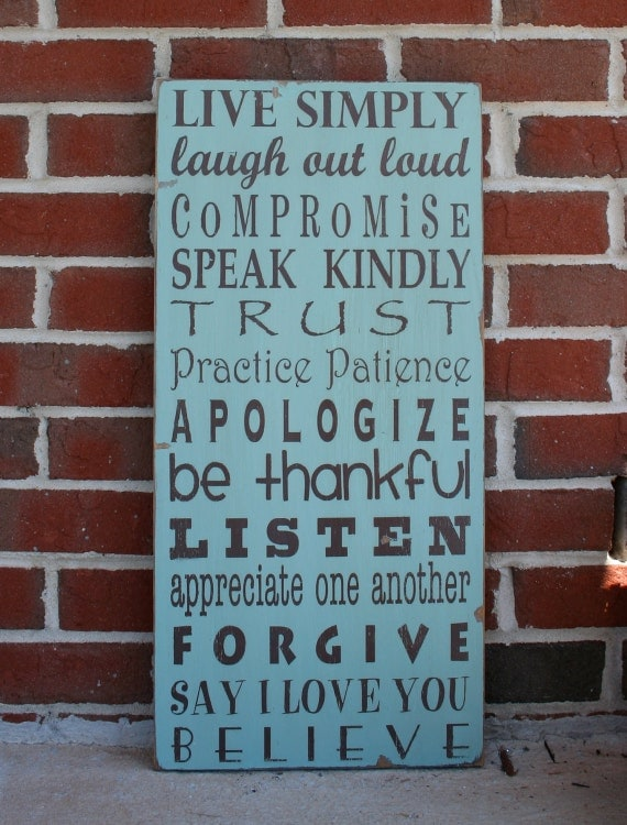 Family Rules Sign - Live Simply Typography Word Art  Sign