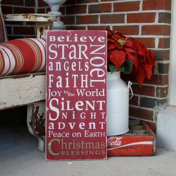 Christmas Typography Word Art Sign In Crimson By